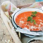 Roasted tomato and green pepper soup