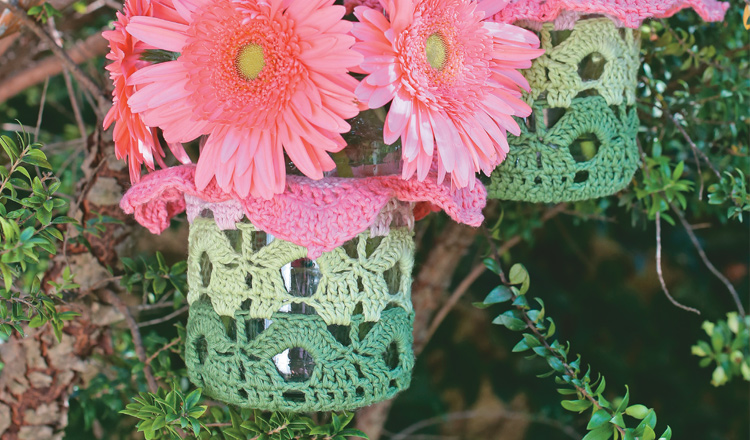 Crochet flower lanterns