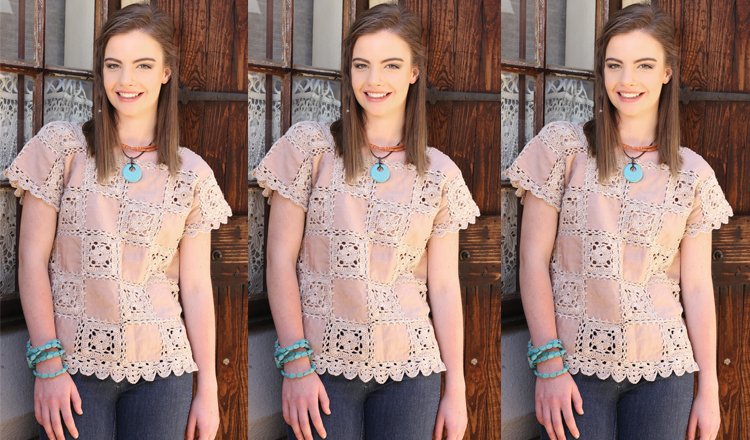 Crochet a top combined with pieces of material
