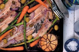 Gebakte bottertongvis met groente